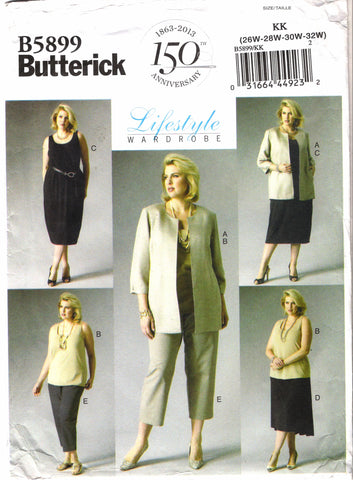 Butterick 5899 Women's Jacket, Top, Dress, Skirt and Pants