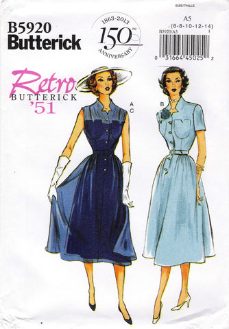 Butterick 5920 Misses' Dress, Belt and Slip