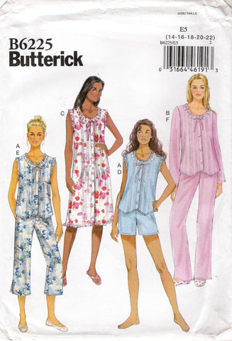 Butterick 6225 Misses' Sleepwear Pajamas