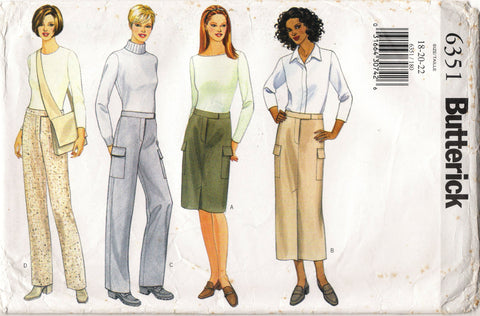 Butterick 6351 Misses' Skirt, Pants and Bag