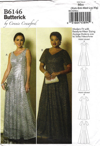 Butterick 6146 Misses'/Women's Dress - 3-4-6-8-10-12-14-16 - Smiths Depot Sewing Pattern Superstore
