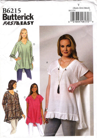 Butterick 6215 Misses' Top - 4-6-8-10-12-14 - Smiths Depot Sewing Pattern Superstore