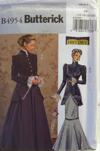 Butterick 4954 Misses'/Misses' Petite Early 20th Century Costume - 16-18-20-22 - Smiths Depot Sewing Pattern Superstore