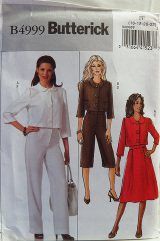 Butterick 4999 Misses'/Misses' Petite Jacket, Skirt, and Pants - 16-18-20-22 - Smiths Depot Sewing Pattern Superstore
