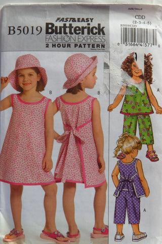 Butterick 5019 Girl's Top, Dress, Pants and Hat - 2-3-4-5 - Smiths Depot Sewing Pattern Superstore