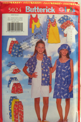 Butterick 5024 Girls' Shirt, Dress, Top, Skirt, Shorts, Pants and Hats -  - Smiths Depot Sewing Pattern Superstore