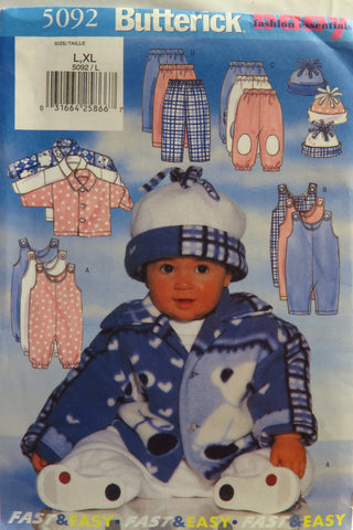 Butterick 5092 Infants' Jacket, Jumpsuit, Pants and Hat - L-XL - Smiths Depot Sewing Pattern Superstore