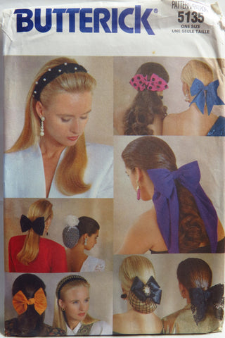 Butterick 5135 Butterick Hair Bows and Chignon -  - Smiths Depot Sewing Pattern Superstore