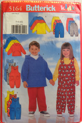 Butterick 5164 Children's Top, Jumpsuit and Pants - 5-6-6X - Smiths Depot Sewing Pattern Superstore