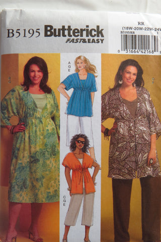 Butterick 5195 Women's Top, Dress, Tunic, Pants and Tank Top - 18W-20W-22W-24W - Smiths Depot Sewing Pattern Superstore