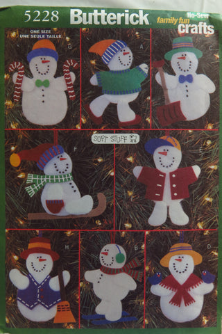 Butterick 5228 No-Sew Snowmen Christmas Ornaments -  - Smiths Depot Sewing Pattern Superstore