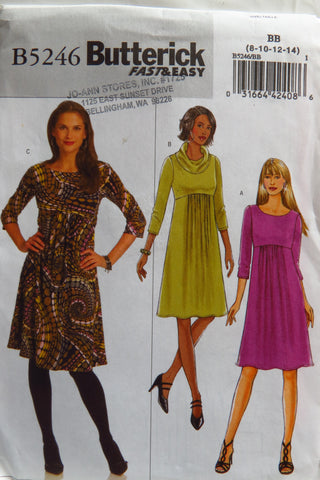 Butterick 5246 Misses' Dress - 8-10-12-14 - Smiths Depot Sewing Pattern Superstore