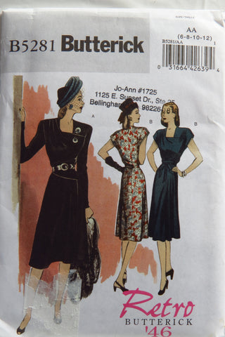 Butterick 5281 Misses' Retro '46 Dress and Belt - 6-8-10-12 - Smiths Depot Sewing Pattern Superstore