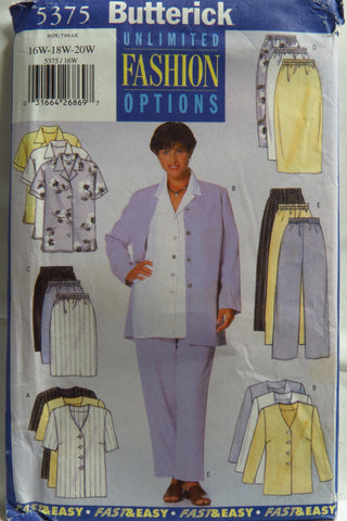 Butterick 5375 Women's/Women's Petite Jacket, Shirt, Skirt and Pants - 16W-18W-20W - Smiths Depot Sewing Pattern Superstore