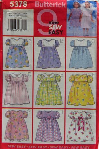 Butterick 5378 Toddlers' Dress -  - Smiths Depot Sewing Pattern Superstore