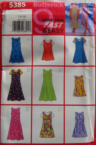 Butterick 5385 Girls' Dress, Jumpsuit and Top - 7-8-10 - Smiths Depot Sewing Pattern Superstore