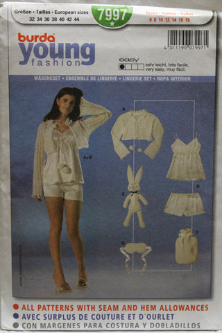 Burda 7997 Lingerie Set - (6-8-10-12-14-16-18) - Smiths Depot Sewing Pattern Superstore