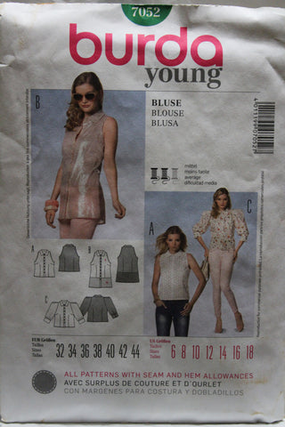 Burda 7052 Juniors' Blouse - (6-8-10-12-14-16-18) - Smiths Depot Sewing Pattern Superstore