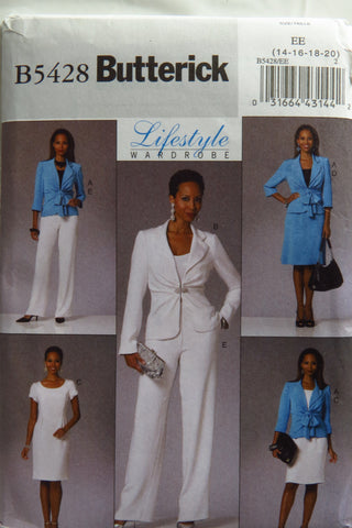 Butterick 5428 Misses' Jacket, Dress, Skirt and Pants - 14-16-18-20 - Smiths Depot Sewing Pattern Superstore