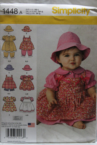 Simplicity 1448 Babies' Dress, Pinafore, Panties, and Hat in Three Sizes - A (XS-S-M-L) - Smiths Depot Sewing Pattern Superstore