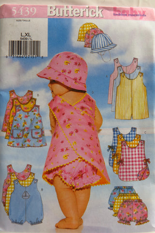 Butterick 5439 Infant's Romper, Jumper, Panties and Hat - L-XL - Smiths Depot Sewing Pattern Superstore