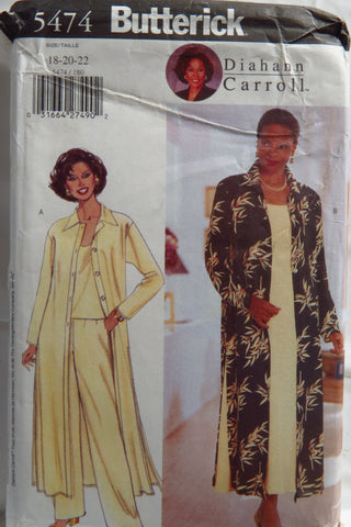 Butterick 5474 Misses'/Misses' Petite Duster, Dress, Top and Pants - 18-20-22 - Smiths Depot Sewing Pattern Superstore