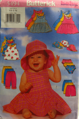 Butterick 5494 Infants' Dress, Top, Panties, Shorts, Pants and Hats - NB-S-M - Smiths Depot Sewing Pattern Superstore