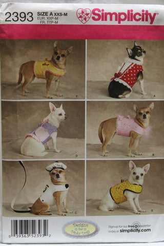 Simplicity 2393 Small Dog Clothes -  - Smiths Depot Sewing Pattern Superstore