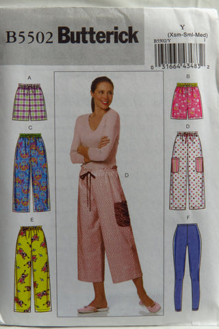 Butterick 5502 Misses'/Misses' Petite Shorts, Pants and Leggings - XS-S-M - Smiths Depot Sewing Pattern Superstore  - 1