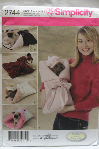 Simplicity 2744 Oh Baby! Dog Carrier or Bed in Three Sizes, Beret and Bonnet in Two Sizes -  - Smiths Depot Sewing Pattern Superstore