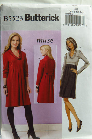 Butterick 5523 Misses' Dress - 8-10-12-14 - Smiths Depot Sewing Pattern Superstore