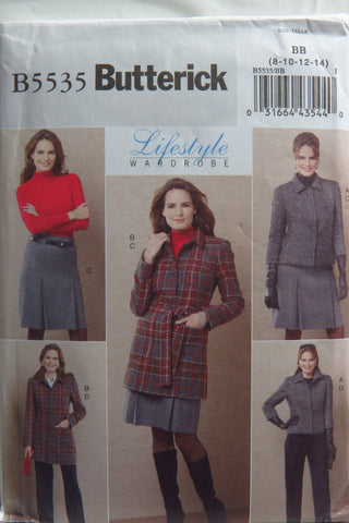 Butterick 5535 Misses'/Misses' Petite Jacket, Belt, Skirt and Pants - 8-10-12-14 - Smiths Depot Sewing Pattern Superstore