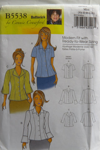 Butterick 5538 Misses'/Women's Blouse - XS-S-M-L-XL - Smiths Depot Sewing Pattern Superstore
