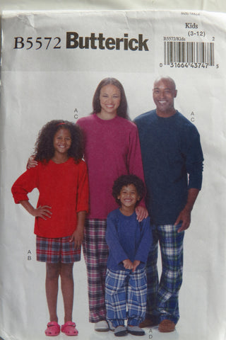 Butterick 5572 Unisex Pajamas and Sleepwear - 3-4-5-6-7-8-10-12 - Smiths Depot Sewing Pattern Superstore