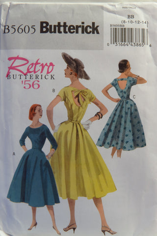 Butterick 5605 Misses' Retro '56 Dress and Belt - 8-10-12-14 - Smiths Depot Sewing Pattern Superstore