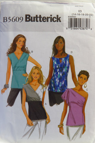 Butterick 5609 Misses' Top - 14-16-18-20-22 - Smiths Depot Sewing Pattern Superstore