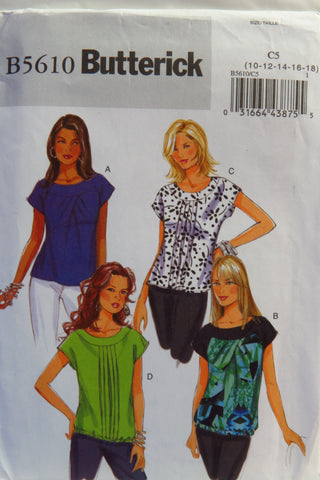 Butterick 5610 Misses' Top - 10-12-14-16-18 - Smiths Depot Sewing Pattern Superstore