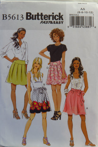 Butterick 5613 Misses' Skirt and Sash - 6-8-10-12 - Smiths Depot Sewing Pattern Superstore  - 1