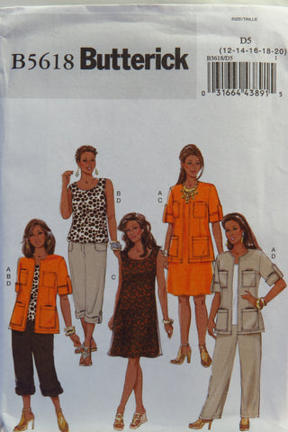 Butterick 5618 Misses'/Women's Jacket, Top, Dress and Pants - 12-14-16-18-20 - Smiths Depot Sewing Pattern Superstore  - 1