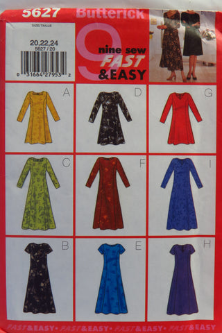 Butterick 5627 Misses'/Misses' Petite Dress - 20-22-24 - Smiths Depot Sewing Pattern Superstore