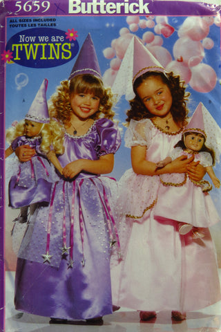 "Butterick 5659 Girl's and 18"" Doll Princess Costume -  - Smiths Depot Sewing Pattern Superstore"