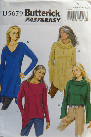 Butterick 5679 Misses' Top - XS-S-M - Smiths Depot Sewing Pattern Superstore  - 1