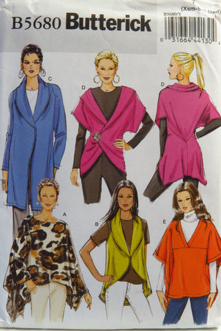 Butterick 5680 Misses' Wrap and Jacket - XS-S-M - Smiths Depot Sewing Pattern Superstore