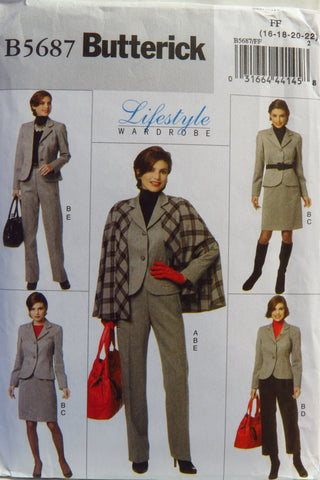 Butterick 5687 Misses' Cape, Jacket, Skirt and Pants - 16-18-20-22 - Smiths Depot Sewing Pattern Superstore