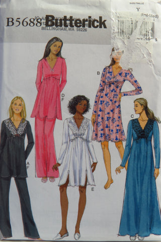 Butterick 5688 Misses' Top, Gown, and Pants Sleepwear - XS-S-M - Smiths Depot Sewing Pattern Superstore