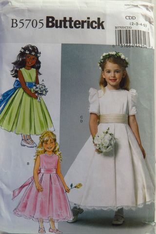 Butterick 5705 Children's/Girls' Dress and Cummerbund - 2-3-4-5 - Smiths Depot Sewing Pattern Superstore