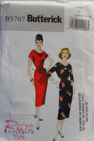Butterick 5707 Misses' Retro '58 Dress and Belt - 6-8-10-12-14 - Smiths Depot Sewing Pattern Superstore