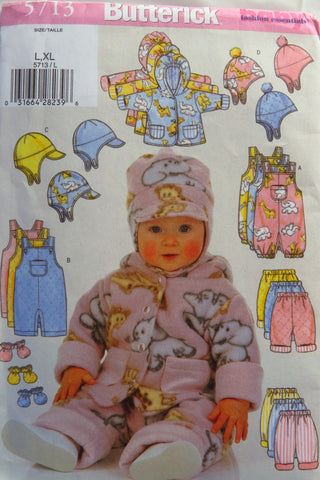 Butterick 5713 Infants' Jacket, Overalls, Pants, Hat and Mittens - L-XL - Smiths Depot Sewing Pattern Superstore