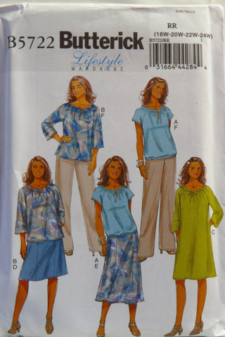 Butterick 5722 Women's Top, Dress, Skirt and Pants - 18W-20W-22W-24W - Smiths Depot Sewing Pattern Superstore  - 1
