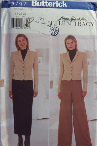 Butterick 5747 Misses' Jacket, Skirt and Pants - 18-20-22 - Smiths Depot Sewing Pattern Superstore